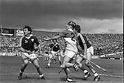 01/09/1985<br /> 09/01/1985<br /> 1 September 1985<br /> All-Ireland Hurling Final: Offaly v Galway at Croke Park, Dublin. <br /> Aidan Fogarty (2), clearing against the onrush of the Galway forwards during the first half of the All-Ireland Senior Hurling Final.