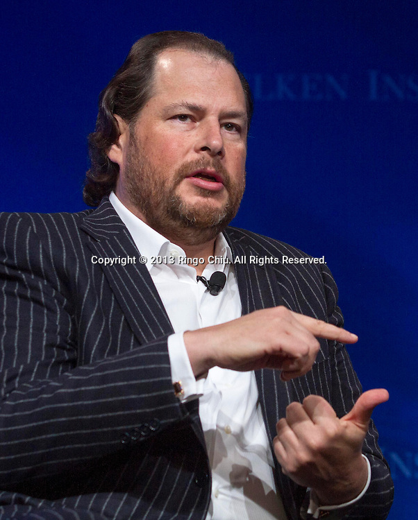 Marc Benioff, chairman and CEO of salesforce.com speaks in a panel during the Milken Institute Global Conference Monday, APril 29, 2013 in Beverly Hill, California. (Photo by Ringo Chiu/PHOTOFORMULA.com).