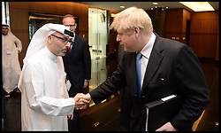 The London Mayor Boris Johnson has a meeting with Mr Waleed Mokarrab Al Muhairi, CEO Mubadala. The Mayor is on a 2 day tour of the UAE, Monday April 15, 2013. Photo By Andrew Parsons / i-Images