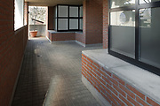 architecture, passage of a modern building in bricks and cement