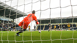 Livingston keeper Darren Jamieson saves Falkirk's Mark Millar penalty.<br /> Falkirk 1 v 1 Livingston, Scottish Championship game today at The Falkirk Stadium.<br /> © Michael Schofield.