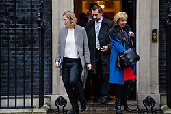 © Licensed to London News Pictures. 08/03/2017. London, UK. Home secretary AMBER RUDD (L)  and Minister of State at the Department of Energy and Climate Change ANDREA LEADSOM (R) leave Downing Street following a cabinet meeting before British chancellor Philip Hammond delivers his 2017 Budget to Parliament. Photo credit: Ben Cawthra/LNP