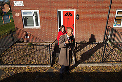© Licensed to London News Pictures . 27/10/2012 . Manchester , UK . Chuka Umunna (right) and Lucy Powell (left) campaigning for Labour on Attlee Way in East Manchester . The Shadow Business Secretary and MP for Streatham , Chuka Umunna , joins Lucy Powell's campaign trail as she bids to become Manchester Central's first woman MP today (27th October 2012) . Photo credit : Joel Goodman/LNP