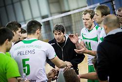 Dejan Fujs, head coach of Panvita Pomgrad during volleyball game between OK ACH Volley and OK Panvita Pomgrad in 1st final match of Slovenian National Championship 2013/14, on April 6, 2014 in Arena Tivoli, Ljubljana, Slovenia. Photo by Vid Ponikvar / Sportida