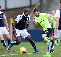 Raith Rovers Jean-Yves M'voto and Hibernian's James Keating. halt time : Raith Rovers 0 v 0 Hibernian, Scottish Championship game played 18/2/2017 at Starks Park.