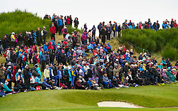 Auchterarder, Scotland, UK. 14 September 2019. Saturday afternoon Fourballs matches  at 2019 Solheim Cup on Centenary Course at Gleneagles. Pictured; Crowds of spectators on hill beside the 9th green.  Iain Masterton/Alamy Live News