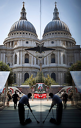 © Licensed to London News Pictures. 03/09/2012. LONDON UK . The St Paul's Cathedral reflected in plate glass window of shopping mall..Photo credit : Andrew Baker/LNP