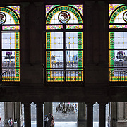 Stained glass windows and grand staircase at Chapultepec Castle. Since construction first started around 1785, Chapultepec Castle has been a Military Academy, Imperial residence, Presidential home, observatory, and is now Mexico's National History Museum (Museo Nacional de Historia). It sits on top of Chapultepec Hill in the heart of Mexico City.