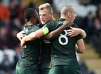 27/09/14 SCOTTISH PREMIERSHIP<br /> ST MIRREN v CELTIC <br /> ST MIRREN PARK - PAISLEY<br /> Celtic's John Guidetti celebrates with team-mates Mubarak Wasako (left) and Scott Brown having scrambled the ball across the line