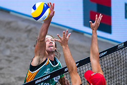 Aleksandrs Samoilovs LAT in action during the first day of the beach volleyball event King of the Court at Jaarbeursplein on September 9, 2020 in Utrecht.