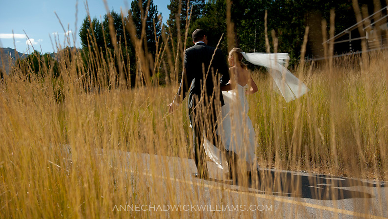 A bride and groom before their wedding at  Squaw Valley, Tahoe, California.