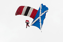 In the Shadow of Sterling Castle and Walace's Monument 1,000's of servicemen and women take part in the 6th Annual Armed Forces Day. <br /> Trailing the Scottish Flag Members of the Red Devils drop into the main Arena<br /> <br /> June 29 2014<br /> Copyright Paul David Drabble<br /> www.pauldaviddrabble.co.uk