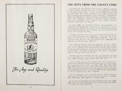 All Ireland Senior Hurling Championship Final, .Brochures, .23.09.1956, 09.23.1956, 23rd September 1956,.Wexford 2-14, Cork 2-8,.Minor Kilkenny v Tipperary, .Senior Cork v Wexford,.Croke Park,..Advertisements, Paddy Old Irish Whiskey,..Articles, The Boys From the County Cork,