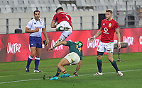 Rugby Union - 2021 British & Irish Lions Tour of South Africa - Second Test: South Africa vs British & Irish Lions<br /> <br /> Conor Murray tis aken out in the air as he catches a high ball by Cheslin Kolbe, at Cape Town Stadium, Cape Town. Dan Biggar and assistant-referee Mathieu Raynal look on.<br /> <br /> COLORSPORT / JOHAN ORTON