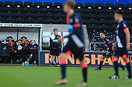 Newcastle Utd u21 manager Peter Beardsley looks on. U21 Barclays Premier league match, Swansea city U21's  v Newcastle Utd U21's at the Liberty Stadium in Swansea, South Wales on Monday 4th April 2016.<br /> pic by Andrew Orchard, Andrew Orchard sports photography.