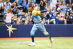 June 10, 2017 - St. Petersburg, Florida, U.S. - WILL VRAGOVIC       Times.Tampa Bay Rays shortstop Tim Beckham (1) scores on the error by Oakland Athletics catcher Josh Phegley (19) on the infield single by Tampa Bay Rays second baseman Michael Martinez (2) in the sixth inning of the first game of the double header between the Tampa Bay Rays and the Oakland Athletics at Tropicana Field in St. Petersburg, Fla. on Saturday, June 10, 2017. (Credit Image: © Will Vragovic/Tampa Bay Times via ZUMA Wire)