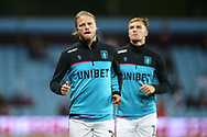 Birkir Bjarnson of Aston Villa (20) warming up during the EFL Sky Bet Championship match between Aston Villa and Rotherham United at Villa Park, Birmingham, England on 18 September 2018.
