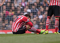 Football - 2016 / 2017 Premier League - Tottenham Hotspur vs. Southampton<br /> <br /> Manolo Gabbiadini of Southampton shows despair after injuring himself  <br /> at White Hart Lane.<br /> <br /> COLORSPORT/DANIEL BEARHAM