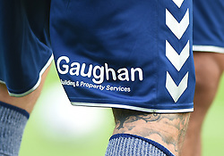 Detail of Gaughan branding on the shorts of a Birmingham City player