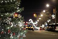 Newburgh, New York - A Christmas tree decorates Broadway on the night of Dec. 14, 2011.