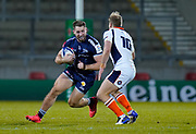 Sale Sharks centre Sam Hill runs at Edinburgh Rugby stand-off Jaco van der Walt during the European Champions Cup match Sale Sharks -V- Edinburgh Rugby at The AJ Bell Stadium, Greater Manchester,England United Kingdom, Saturday, December 19, 2020. (Steve Flynn/Image of Sport)