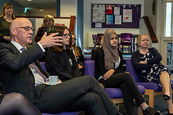 Pictured: John Swinney and students from Royal High School<br /> <br /> The Deputy First Minister and Education Secretary visited the Royal High School in Edinburgh today and met students and staff to learn about a school library project aimed at tackling mental health issues.<br /> <br /> Ger Harley | EEm 10 October 2019