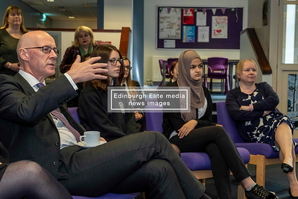 Pictured: John Swinney and students from Royal High School<br /> <br /> The Deputy First Minister and Education Secretary visited the Royal High School in Edinburgh today and met students and staff to learn about a school library project aimed at tackling mental health issues.<br /> <br /> Ger Harley   EEm 10 October 2019
