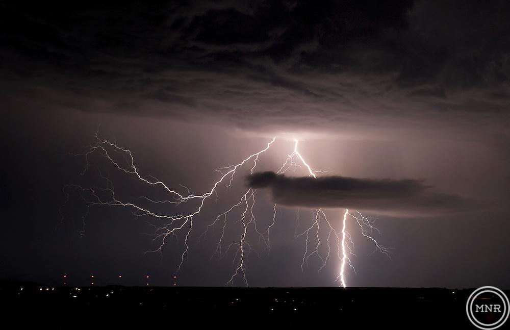 A lightning Bolt from an approaching storm in Bozeman, Montana.