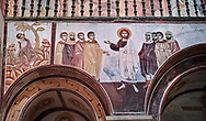 Pictures & images of the Byzantine fresco panels in the Gelati Georgian Orthodox Church of the Virgin, 1106, depicting scenes from the Passion of Christ.  The medieval Gelati monastic complex near Kutaisi in the Imereti region of western Georgia (country). A UNESCO World Heritage Site. .<br /> <br /> Visit our MEDIEVAL PHOTO COLLECTIONS for more   photos  to download or buy as prints https://funkystock.photoshelter.com/gallery-collection/Medieval-Middle-Ages-Historic-Places-Arcaeological-Sites-Pictures-Images-of/C0000B5ZA54_WD0s<br /> <br /> Visit our REPUBLIC of GEORGIA HISTORIC PLACES PHOTO COLLECTIONS for more photos to browse, download or buy as wall art prints https://funkystock.photoshelter.com/gallery-collection/Pictures-Images-of-Georgia-Country-Historic-Landmark-Places-Museum-Antiquities/C0000c1oD9eVkh9c