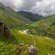 """Glen Shiel and the River Shiel. This is the site of the Battle of Glen Shiel which occurred on June 10, 1719. Referred to as the """"Little Rising"""" or """"the 19"""", it is the second major battle in the Jacobite uprising saga, the first being in 1715. Allied with around 200 Spanish forces, the Jacobites (including notables like Rob Roy MacGregor) fought the English (and Dutch and other Scottish clans) but were defeated in this single skirmish lasting around 4 hours. It is also the last close engagement of English and foreign troops on the mainland. The Jacobites had captured Eilean Donan Castle at the west end of Glen Shiel and were using it as a supply base. The Spanish and some Scots were stationed there and refused to surrender when fired upon by English ships. The battle began at 5pm and ended at 9pm when the Jacobites retreated and dispersed. About 21 English soldiers were killed and 100 - 121 wounded, and about 100 Jacobites were killed with  100+ wounded. The next (and final) Jacobite uprising wouldn't occur until 1745 at Culloden, near Inverness."""