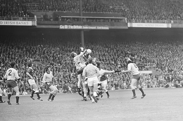 A group of players all jump hoping to gain possession of the ball during the All Ireland Senior Gaelic Football Championship Final Dublin V Galway at Croke Park on the 22nd September 1974. Dublin 0-14 Galway 1-06.