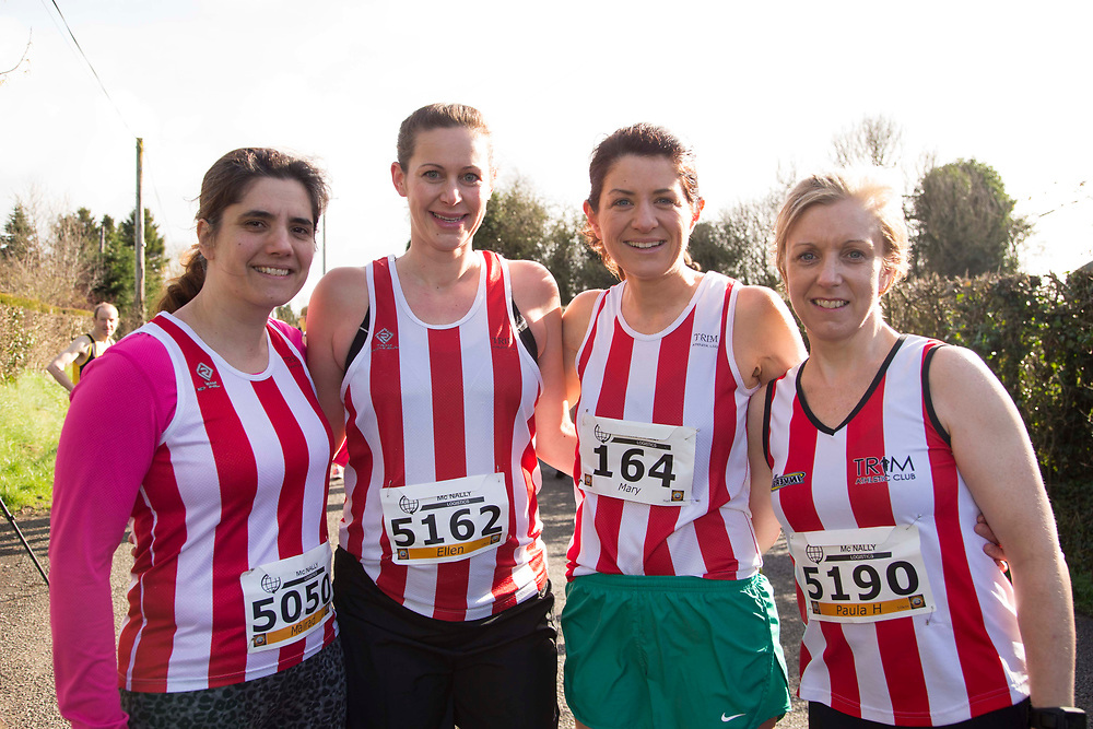 12/03/2017, Bohermeen AC 10k road Race & Half Marathon<br /> Trim ladies pictured at the event, L-R, Mairead Heffernan, Ellen Bitting, Mary Carr & Paula Hegerty<br /> <br /> David Mullen / www.cyberimages.net<br /> ISO: 250; Shutter: 1/250; Aperture: 7.1; <br /> File Size: 2.5MB<br /> Actuations: