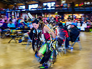 06 MAY 2017 - ST. PAUL, MN: A dancer performs during the Grand Entry at the 6th Annual Powwow for Hope at Ft. Snelling in St. Paul. The powwow was a fundraiser to support cancer education and supportive services for American Indian communities. Proceeds benefited the American Indian Cancer Foundation's work to eliminate cancer burdens on American Indian families. Cancer is the leading cause of death in Native American communities, exceeding coronary disease and diabetes.       PHOTO BY JACK KURTZ