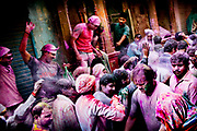 Holi festival, India, on wednesdayday, mar. 11, 2009. On the streets of Vrindavan the war is on. The weapons are color powder and colored water. Everybody is a target. And the attacks comes on the streets, from the vindows, and from the balconys