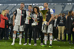 May 19, 2019 - Turin, Turin, Italy - Andrea Barzagli,Giorgio Chiellini of Juventus FC lift the trophy of Scudetto  2018-2019 at Allianz Stadium, Turin (Credit Image: © Antonio Polia/Pacific Press via ZUMA Wire)