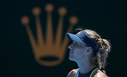 MELBOURNE, Jan. 22, 2018  Angelique Kerber of Germany reacts during the women's singles fourth round match against Hsieh Su-wei of Chinese Taipei at Australian Open 2018 in Melbourne, Australia, Jan. 22, 2018. Kerber won 2-1. (Credit Image: © Zhu Hongye/Xinhua via ZUMA Wire)