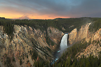 Sunrise over Lower Falls of the Yellowstone River seen from Lookout Point, Yellowstone National Park