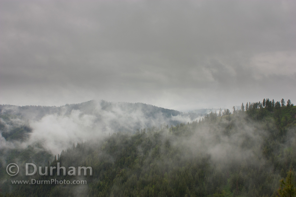 Mist enshrouded ridges above the Clearwater River, Idaho, These are the foothills of the Bitteroot Mountains.