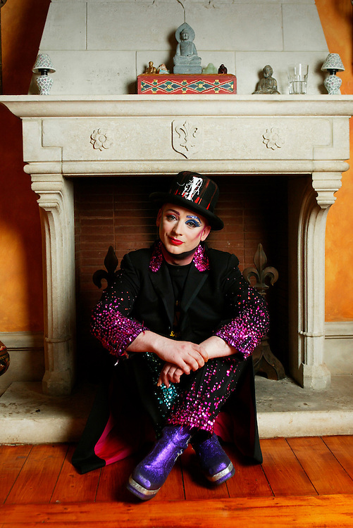 BOY GEORGE IN HIS KITSCH HOUSE IN HAMPSTEAD.   HE AND OTHER BAND MEMBERS ARE GETTING CULTURE CLUB TOGETHER AGAIN<br />PIC GRAHAM JEPSON