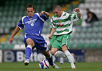 Photo: Lee Earle.<br /> Yeovil Town v Cardiff City. Pre Season Friendly. 21/07/2007.Cardiff's Gavin Rae (L) battles with Yeovil's Anthony Barry.