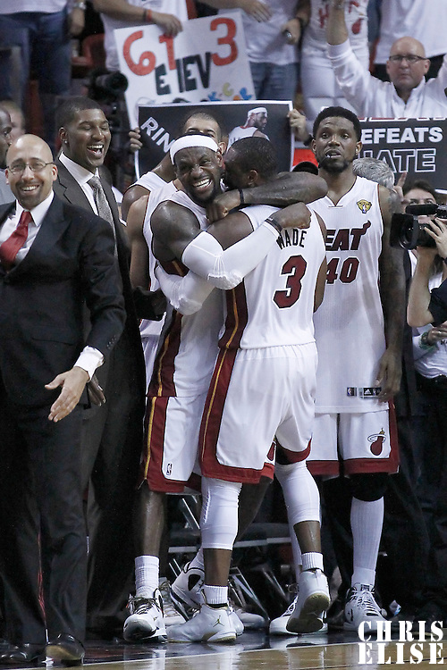 21 June 2012: Miami Heat shooting guard Dwyane Wade (3) is congratulated by Miami Heat small forward LeBron James (6) during the Miami Heat 121-106 victory over the Oklahoma City Thunder, in Game 5 of the 2012 NBA Finals, at the AmericanAirlinesArena, Miami, Florida, USA. The Miami Heat wins the series 4-1.