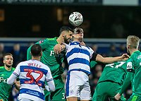 Football - 2018 / 2019 Emirates FA Cup - Fifth Round: Queens Park Rangers vs. Watford<br /> <br /> Matt Smith (Queens Park Rangers) and Miguel Britos (Watford FC) clash heads as the ball comes in at Loftus Road<br /> <br /> COLORSPORT/DANIEL BEARHAM