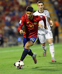 Marco Asensio of Spain in action during the World Cup qualification match between Spain vs Albania in Alicante, Spain, on October 06, 2017. Photo by Giuliano Bevilacqua/ABACAPRESS.COM
