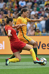 November 24, 2017 - Melbourne, Victoria, Australia - WU HAIYAN (5) of China PR and SAM KERR (20) of Australia compete for the ball during an international friendly match between the Australian Matildas and China PR at GMHBA Stadium in Geelong, Australia. (Credit Image: © Sydney Low via ZUMA Wire)