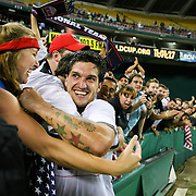 Santino Quaranta greats the fans at RFK Stadium after his goal lifts the US Men's National Soccer Team against Honduras in the 2009 Gold Cup.