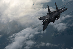 An F-15E Strike Eagle waits to be refueled during a training mission June 12, 2018, above North Carolina. The Strike Eagle is a dual-role fighter designed to perform air-to-air and air-to-ground missions. (U.S. Air Force photo by Airman 1st Class Miranda A. Loera)