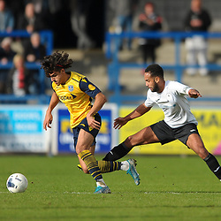 TELFORD COPYRIGHT MIKE SHERIDAN Aaram Soleman and Brendon Daniels of Telford during the Vanarama National League Conference North fixture between AFC Telford United and Guiseley on Saturday, October 19, 2019.<br /> <br /> Picture credit: Mike Sheridan/Ultrapress<br /> <br /> MS201920-026