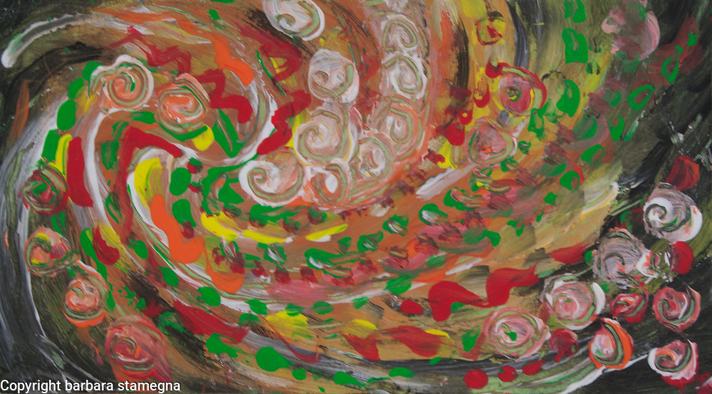 swirling curls abstraction:swirls, round concentric shapes and bended lines