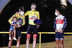 Jumbo Visma's rider Primoz Roglic, UAE's rider Tadej Pogacar winner of the yellow jersey of overall winner and Trek Segafredo's rider Richie Porte on the podium of the Tour de France 2020, on Champs Elysees Avenue in Paris, on September 20, 2020. / Sportida