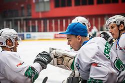 30# Spreitzer Tilen of HK SZ Olimpija Ljubljana during ice hockey match between HK SIJ Acroni Jesenice and HK SZ Olimpija in Round #12 of Alps Hockey League 2018/19 , on October 27, 2018 in Podmezakla hall , Jesenice, Slovenia. Photo by Urban Meglic / Sportida